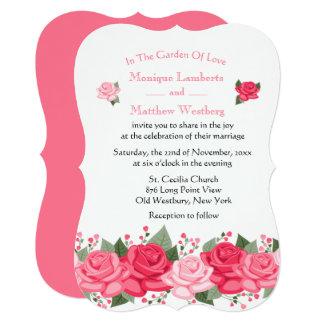 Casamento floral da flor do rosa do rosa - chique convite 12.7 x 17.78cm