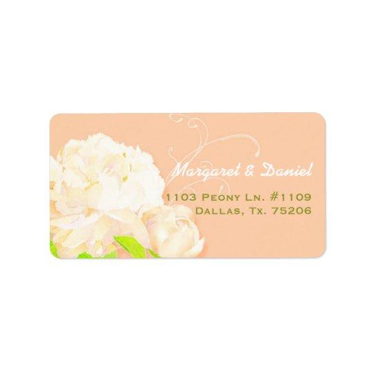 Casamento floral da peônia elegante do pêssego etiqueta de endereço