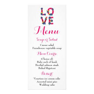 Casamento floral de Boho do amor do rosa do menu