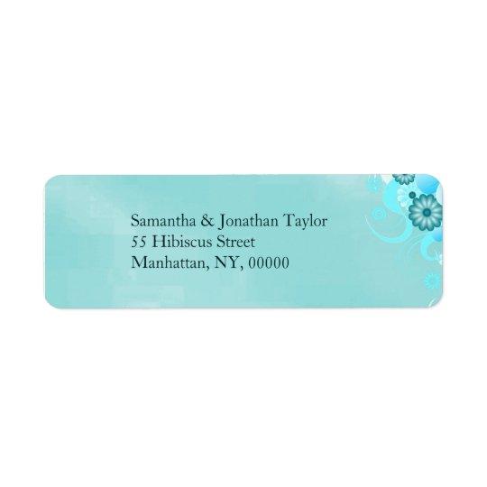 Casamento floral de turquesa azul escura da etiqueta endereço de retorno
