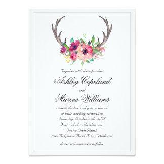 Casamento floral do fascínio de Boho dos Antlers Convite 12.7 X 17.78cm