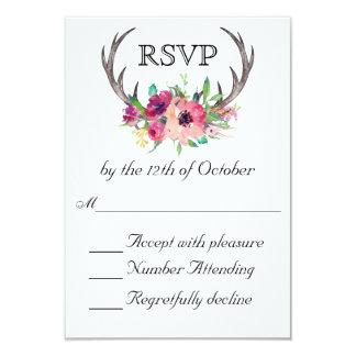 Casamento floral do fascínio de Boho dos Antlers Convite 8.89 X 12.7cm