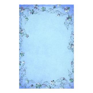 Casamento floral do vintage azul papel personalizado