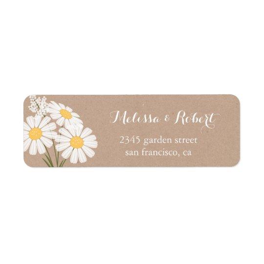 Casamento floral elegante do buquê das margaridas etiqueta endereço de retorno