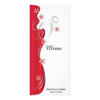 Casamento floral moderno | vermelho escuro e de 10.16 x 22.86cm panfleto