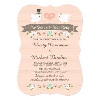 Casamento floral Monogrammed da pomba Convite 12.7 X 17.78cm