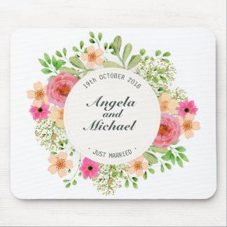 Casamento floral   Mousepad do recem casados