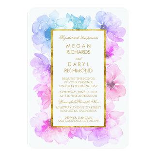 Casamento floral roxo e azul do quadro do ouro convite 12.7 x 17.78cm