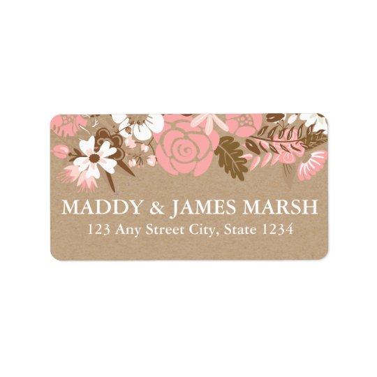 Casamento floral rústico do papel de embalagem etiqueta de endereço