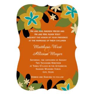 Casamento floral tropical alaranjado convites personalizado