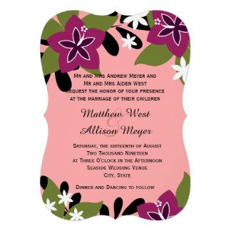 Casamento floral tropical da ameixa cor-de-rosa convite personalizados