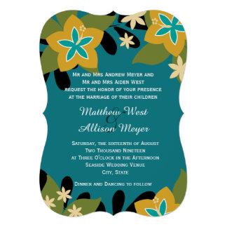 Casamento floral tropical da cerceta convite personalizado