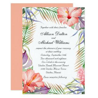 Casamento floral tropical havaiano de Luau Convite 12.7 X 17.78cm