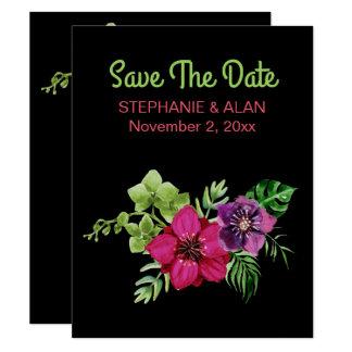 Casamento floral verde roxo do rosa quente convite 10.79 x 13.97cm