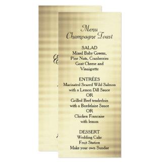 Casamento, folha de ouro, menu feito sob encomenda convite 10.16 x 23.49cm
