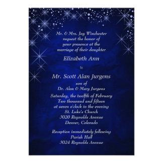 Casamento formal azul da noite estrelado convites personalizados