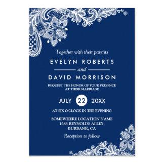 Casamento formal branco dos azuis marinhos convite 12.7 x 17.78cm