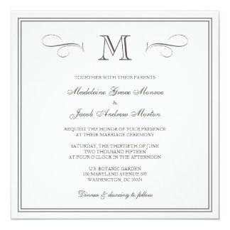 Casamento formal do monograma convite quadrado 13.35 x 13.35cm