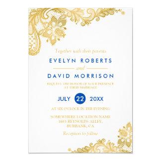 Casamento formal dos azuis cobaltos brancos convite 12.7 x 17.78cm