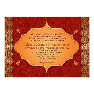 Casamento indiano dourado do quadro da borda convites personalizados