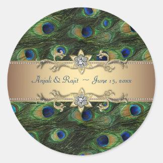 Casamento indiano real esmeralda do pavão do ouro adesivo