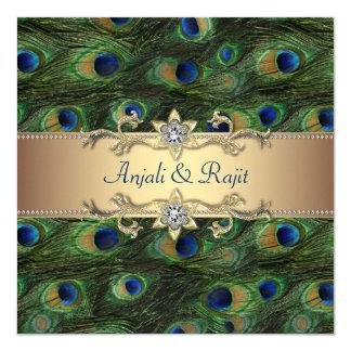 Casamento indiano real esmeralda do pavão do ouro convite quadrado 13.35 x 13.35cm