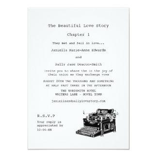 Casamento lésbica da máquina de escrever do convite
