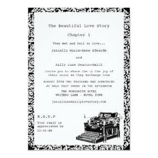 Casamento lésbica da máquina de escrever do convites personalizado