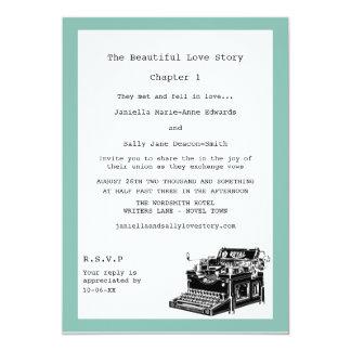 Casamento lésbica da máquina de escrever do convites