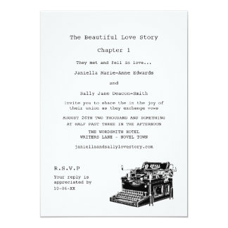 Casamento lésbica da máquina de escrever do convite 12.7 x 17.78cm