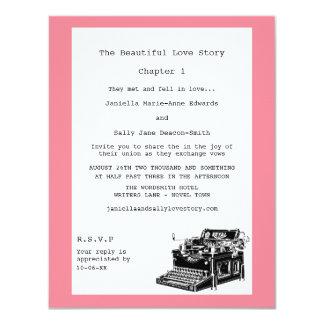 Casamento lésbica da máquina de escrever do convite 10.79 x 13.97cm