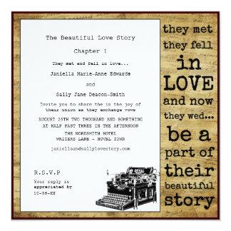 Casamento lésbica da máquina de escrever do convite quadrado 13.35 x 13.35cm