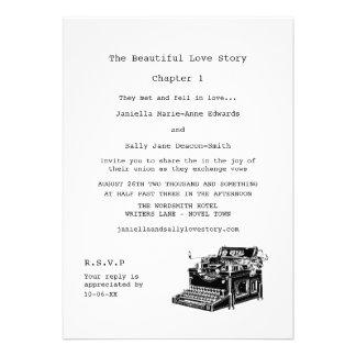 Casamento lésbica da máquina de escrever do vintag convite