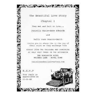 Casamento lésbica da máquina de escrever do vintag convites personalizado