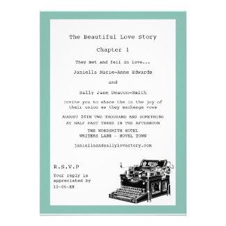 Casamento lésbica da máquina de escrever do vintag convites