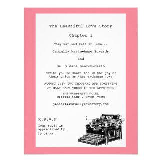 Casamento lésbica da máquina de escrever do vintag convites personalizados