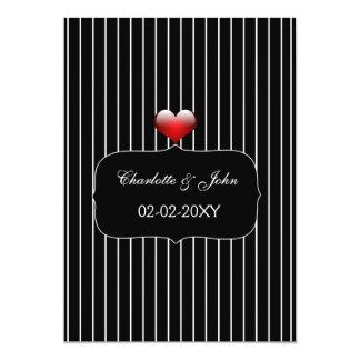 Casamento listrado preto e branco convite 12.7 x 17.78cm