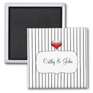 Casamento listrado preto e branco ímã quadrado