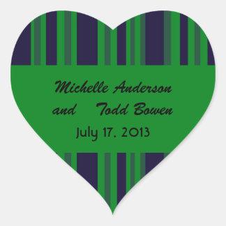 Casamento listrado verde azul escuro adesivo coração