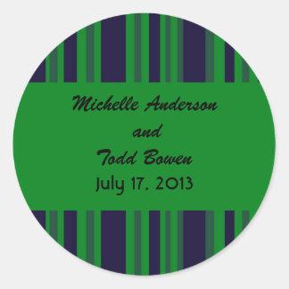 Casamento listrado verde azul escuro adesivo