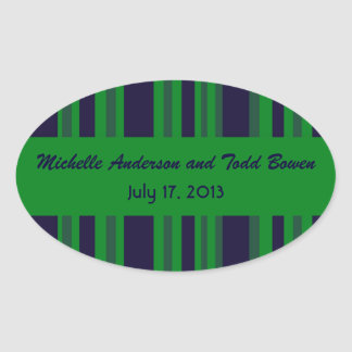 Casamento listrado verde azul escuro adesivo oval