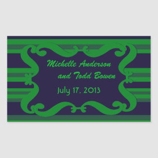 Casamento listrado verde azul escuro adesivos em forma retangular