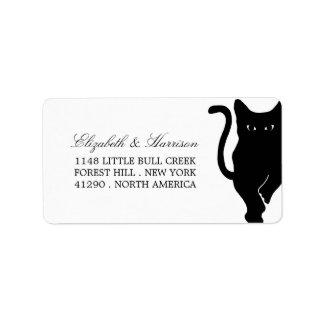 Casamento lunático moderno do gato preto etiqueta de endereço