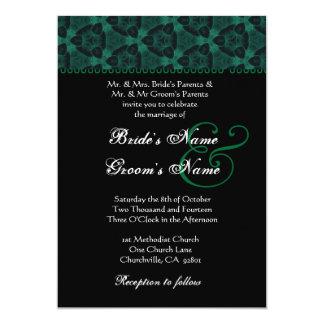 Casamento moderno branco preto verde do monograma convite 12.7 x 17.78cm