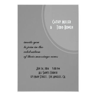 Casamento moderno cinzento simples convite