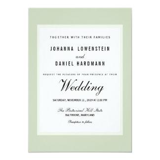 Casamento moderno verde do chique convite 12.7 x 17.78cm