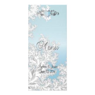 Casamento na moda moderno em um damasco do azul do 10.16 x 22.86cm panfleto