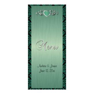 Casamento na moda moderno em um damasco verde da 10.16 x 22.86cm panfleto