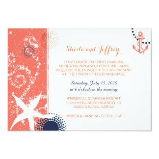 Casamento náutico branco dos azuis marinhos corais convite 12.7 x 17.78cm