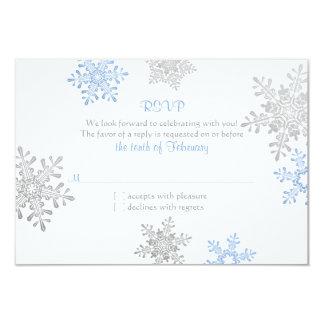 Casamento no inverno de prata azul simples RSVP do Convites Personalizado
